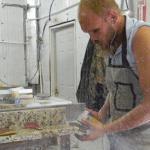 polishing the stone
