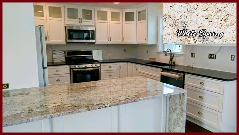 Kitchen Featuring Different Granite Countertops And
